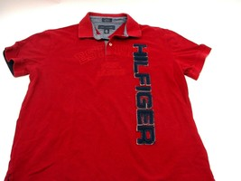 VINTAGE Tommy Hilfiger Polo Shirt Large Custom Fit Red Spellout Blocked Letters - $26.87