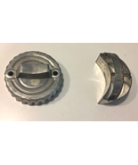 2 VINTAGE TIN ROUND CRINKLE EDGE AND ALUMINUM MOON BISCUIT CUTTERS WITH ... - $3.00
