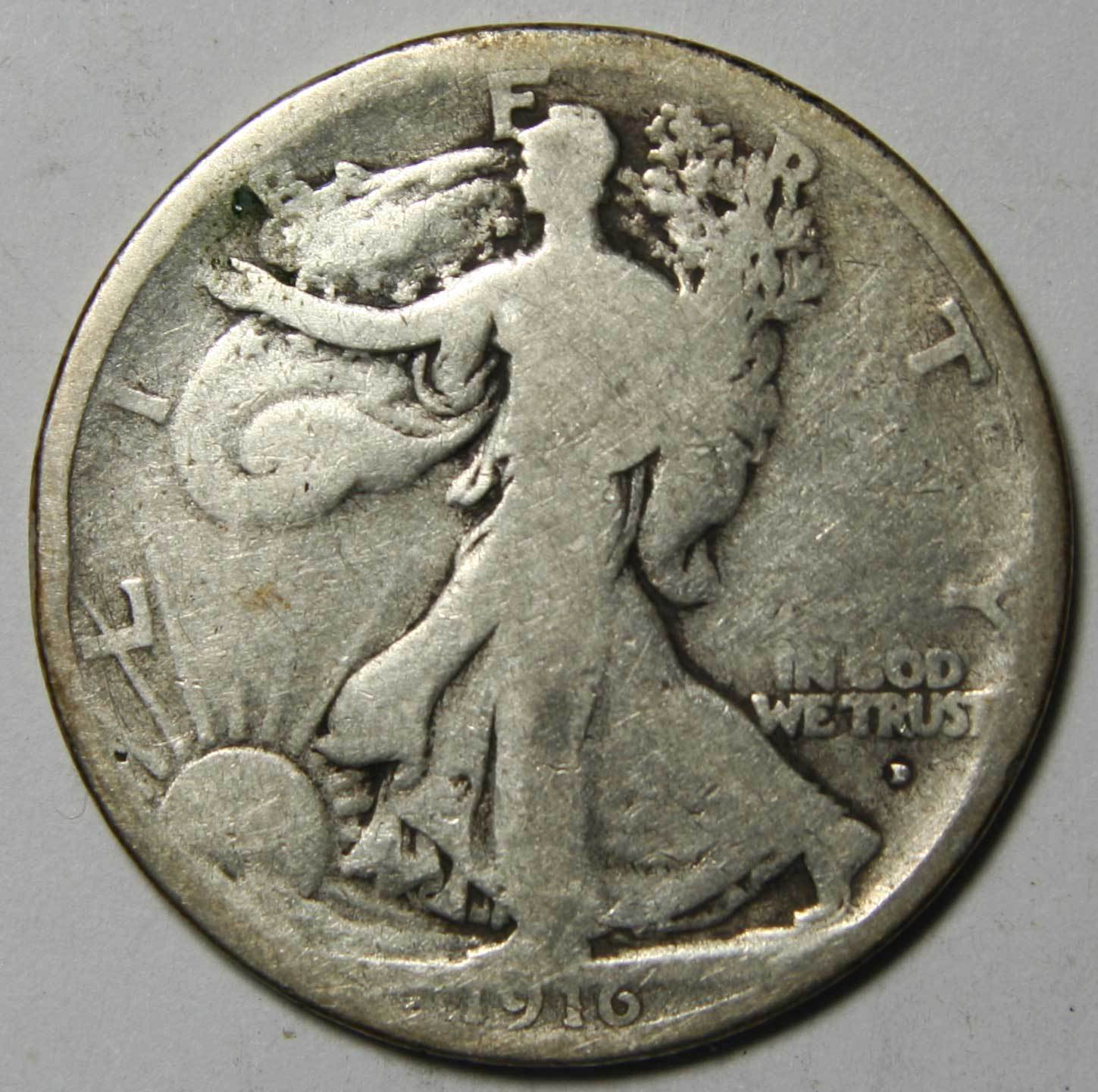 1916D Walking Liberty Half Dollar 90% Silver Coin Lot# MZ 4380