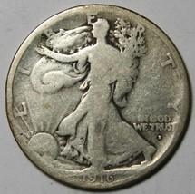 1916D Walking Liberty Half Dollar 90% Silver Coin Lot# MZ 4380