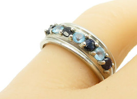 925 Sterling Silver - Vintage Sapphire & Blue Topaz Band Ring Sz 8 - R13507 - $26.36