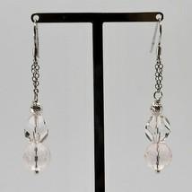 Ohrringe aus Silber 925 Rhodium Anhänger Rosenquarz Facettiert und Kristall image 2