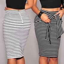 Fashion Women Bandage Skirt Slim High Waist Striped Mini Skirts Bottoms