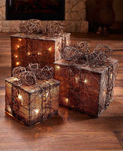 Lighted Gift Box Decor Christmas Gifts Set Of 3 Large Medium Small  * 2 ... - £26.48 GBP