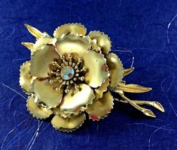 Statement Coro Pin Brooch Signed Flower AB Gold Toned Wedding Bridal Gift Vtg image 6