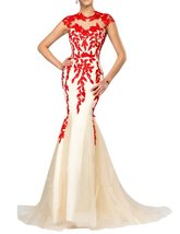 Women's 2018 Sexy Sheer Neck Mermaid Long Evening Gown Lace Applique Pro... - $115.89