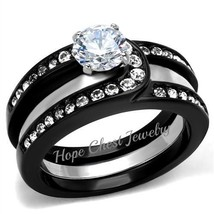 WOMEN'S BLACK STAINLESS STEEL CZ ENGAGEMENT WITH RING GUARD WEDDING RING... - $20.69