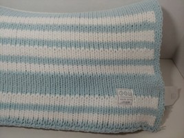 Cocalo Baby Blanket Blue White Striped Reversible Chenille Knit made with love - $39.59