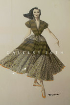 RARE! MID CENTURY WATERCOLOR FASHION ART! PAINTING 1950S COUTURE MADEMOI... - $900.00