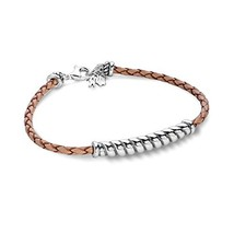 925 Silver Beige Braided Leather Rope Bar Bracelet - Small - $44.27