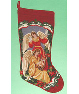 Sferra Two Angels Needlepoint Christmas Stocking Hand Stitched Wool New - $72.90