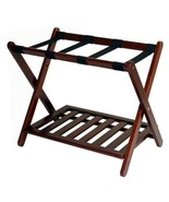 Walnut Wooden Folding Luggage Rack Straps Extra Storage Bags Travel Gues... - $55.34