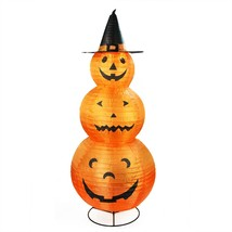 "Northlight 48"" Orange Black Pumpkins with Witch Hat Halloween Yard Decor - $53.20"