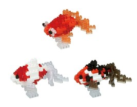 3 Nanoblock Fish Sets - 2 Wakin Goldfish - Red and Black and 1 Popeyed G... - $29.69