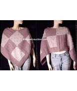 New Poncho Handmade MERINO WOOL PATCHWORK HAND KNIT CABLE MAUVE BEIGE O/S - $59.99