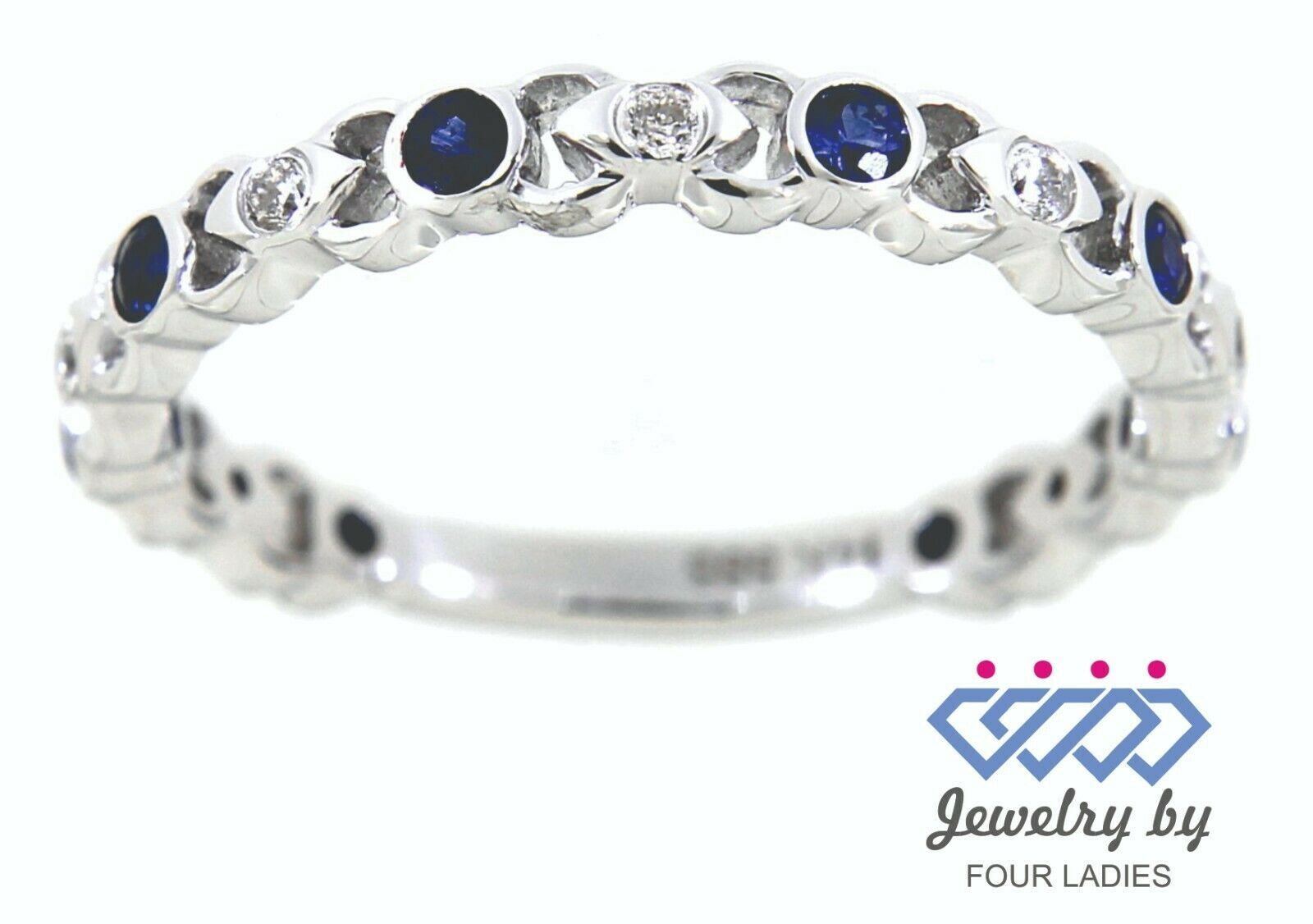 Primary image for Blue Sapphire Round Birthstone 14K White Gold 0.36CT Diamond Designer Fine Band