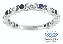 Blue Sapphire Round Birthstone 14K White Gold 0.36CT Diamond Designer Fi... - $1,173.00