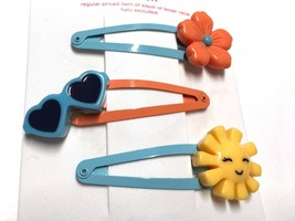 Gymboree Tropical Bloom Barrette Clip Snap Used Girl Flowers Glasses Sun Smile - $4.95