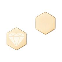 Sterling Silver Hexagon Stud Earrings - Diamonds - $70.00