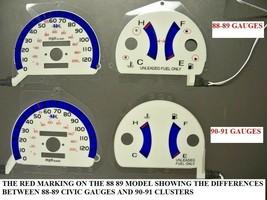 90 91 No RPM Honda Civic MT Manual White Face Cluster Glow Gauges No Tac... - $24.74