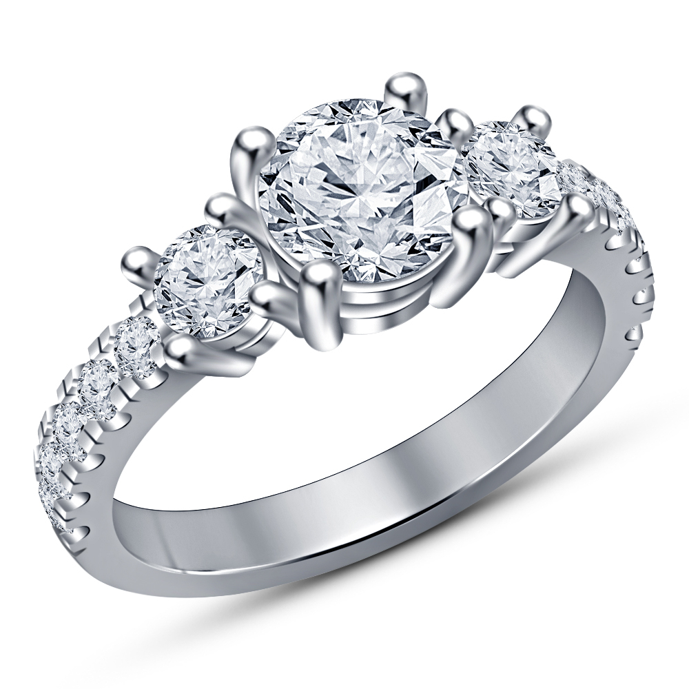 Vintage Diamond Solitaire Engagement Wedding Bridal Ring 14K White Gold Finish