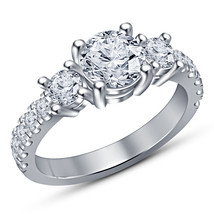 Vintage Diamond Solitaire Engagement Wedding Bridal Ring 14K White Gold ... - $63.99