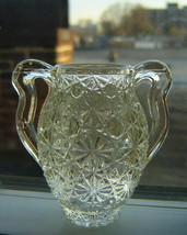 Vintage CLEAR GLASS Daisy and Button Pattern Handled TOOTHPICK HOLDER Va... - $9.70