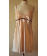 Morgan Taylor Intimates Pink Satin Chemise with lace trim and bow Size L... - $14.86