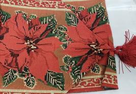 "Extra Long Tapestry Table Runner, 13""x72"",WINTER,CHRISTMAS Flowers,Poinsettia,Hg - $19.79"