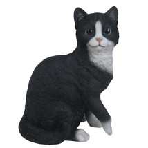 "Animal Collection Life Size Black and White Cat Figurine Statue 10 1/8""Tall - $35.63"