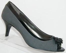 on 7 'Shanae' heel tassel fabric gray peep black 5M slip toe Bandolino kitten qxAf8Pw8