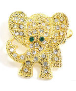 Adorable Crystal Pave Elephant 14K Gold EP Brooch BP41 - $9.99