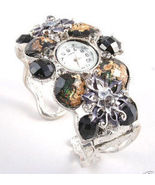 WW127 Chunky Crystal Flower Pattern Cuff Watch  - $24.99