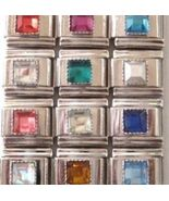 12 Crystal Square Birthstone Italian Charms Wholesale Lot - $4.99