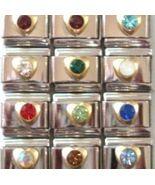 12 Crystal Heart Birthstone Italian Charms Wholesale Lot - $6.99