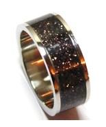 SSR1794 - Size 8 - Unisex Black/Copper Glitter Stainless Steel Ring - $11.99