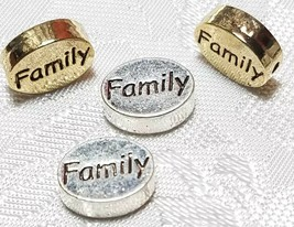 FAMILY WORD FINE PEWTER OVAL DISC BEAD - 11mm L x 9mm W x 3mm D
