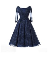 Women Vintage Lace Tea-Length Cocktail Party Dress Half Sleeves Beaded P... - $122.99