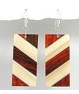 92.5 Sterling Silver/ Exotic Wood Dangle Earrings EA79 - $9.99