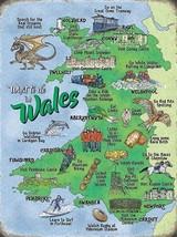 Wales Map Welsh Landmarks Coastal Touring Holidays Fridge Magnet - $3.83