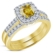 Cushion Cut Sapphire 18k Yellow Gold Over 925 Silver Engagement Ring Bri... - $89.99