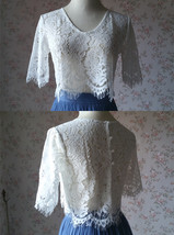 White Lace Crop Top Bridesmaid Separates Lace Top Crop Sleeve Custom Plus Size image 1