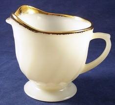 Vintage Fire King White Swirl Creamer Milk Glass Gold Trim Anchor Hocking - $5.00