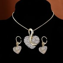 Women's Heartshaped Cut Crystal Gold Pendant Necklace Jewelry Set image 3