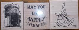 LOT 3 BRAND NEW RUBBER STAMPS~castle, toad, happy - $16.00
