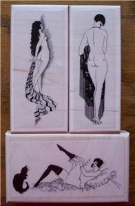 LOT 3 NEW RUBBER STAMPS FRENCH NUDE LADY LADIES CAT