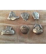 Silver Tone Sylvester Tweety Vintage Button Children Girls Boys Button C... - $25.00