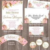 Floral Pink Gold Glitter Baby Shower Party Package: Invitation, Personal... - $29.70