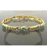 Vintage 14K Solid YG 1.96ct Genuine Oval Emerald & Round Diamonds Bracel... - $875.00