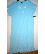 NWT New Designer Natori Night Gown Long Womens Light Blue XS Lace Detail... - $170.00